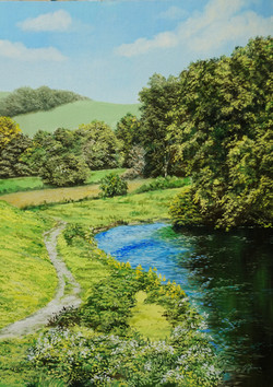 River Walk 14x10 oil on board