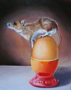 Breakfast Mouse 8x10 oil on board
