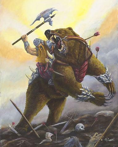 bear, dwarf, axe, war, battlefield, painting
