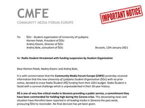 Statement from the Community Media Forum Europe for ŠOU - Student organ of University of Ljubljana