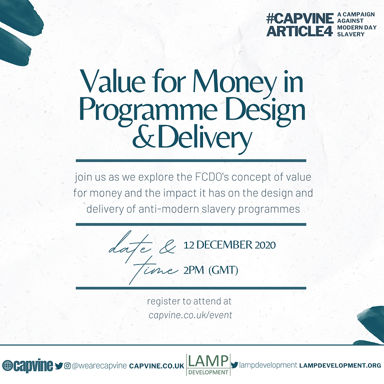 Value for Money in Programme Design and Delivery