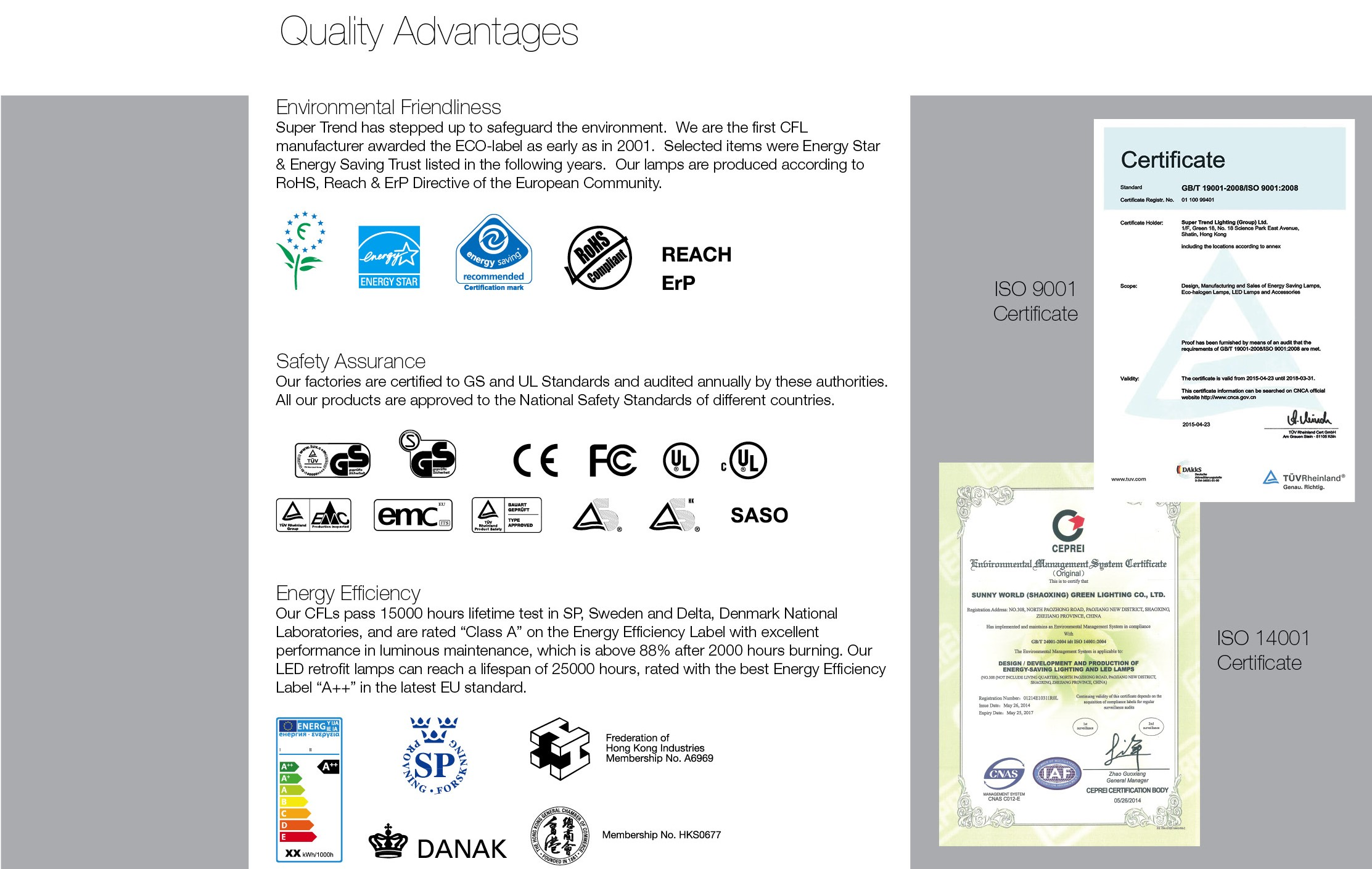 ST Catalogue 2016 Certifications