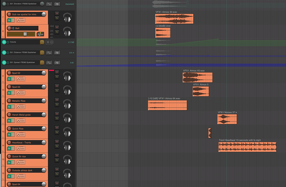 The arrangement of samples creating the opening titles scene for the re-creayion of the Assassin's Creed trailer, for Immersive Audio at SAE
