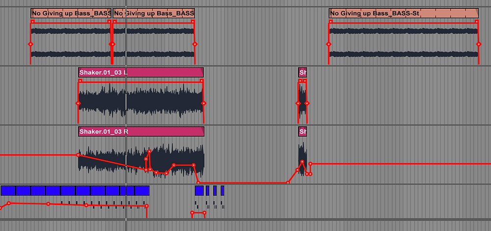 Screenshot of shaker and bass as incorporated from originals stems