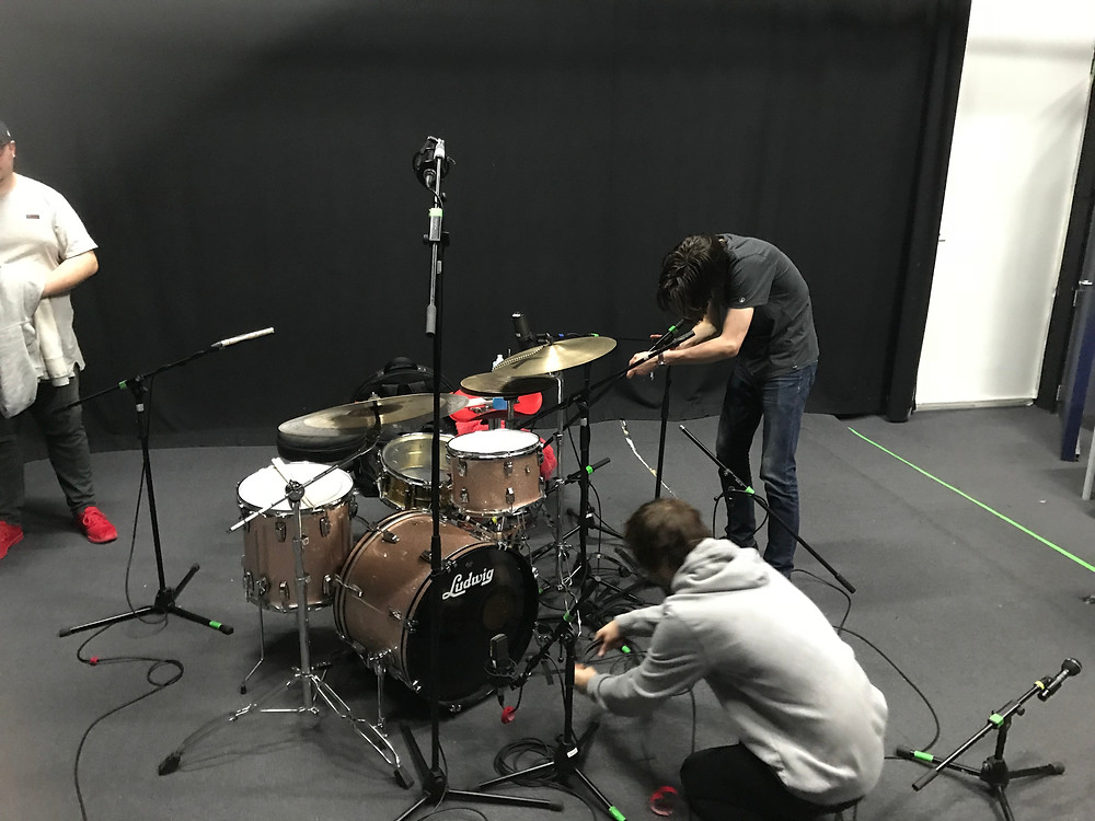 The team working together in miking up Ryan's 7 piece Ludwig drumkit
