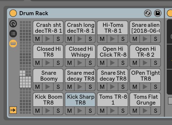 Drum Rack created on Tr8