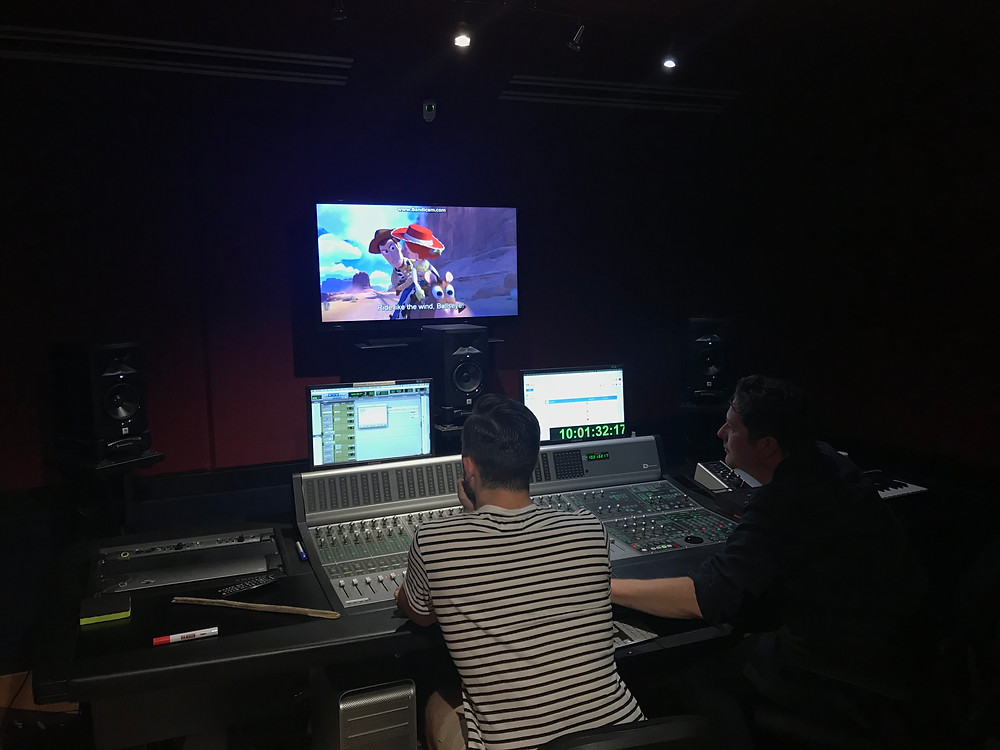 Corey and Tristan during the mixing session