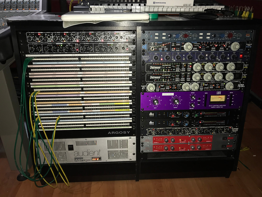 The patch bay used during our first drums session