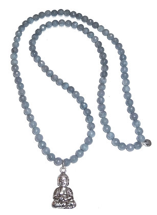 Faceted Aquamarine Necklace With Buddha