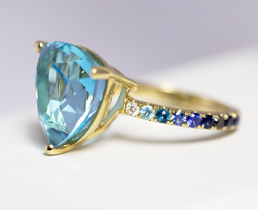 One of a Kind Blue Topaz Ombre Ring