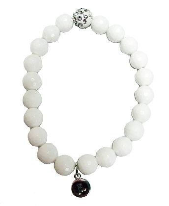 White Gemstone Beaded Bracelet