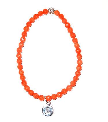 Peach Coral Beaded Bracelet