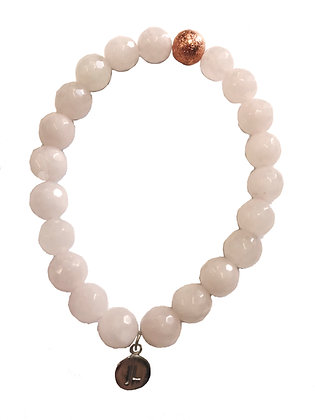 Rose Quartz Beaded Bracelet With Rose Gold Charm