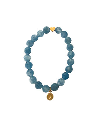 Aquamarine Beaded Bracelet With Heart