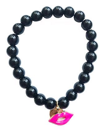 Onyx Magenta Lips Gemstone Bracelet