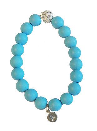 Neon Blue Beaded Bracelet