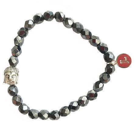 Hematite Buddha Gemstone Bracelet