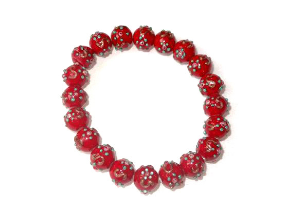 Hand Painted Red Beaded Bracelet