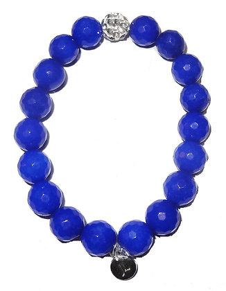 Faceted Cobalt Blue Beaded Bracelet