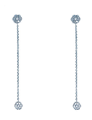 Diamond Flower Drop Earrings
