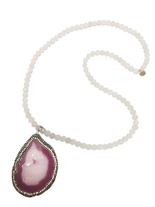 Rose Quartz Druzy Necklace