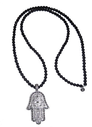Faceted Onyx Gemstone Necklace with Hamsa Pendant
