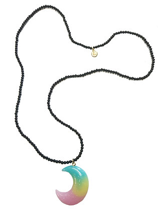 Onyx Pastel Moon Necklace