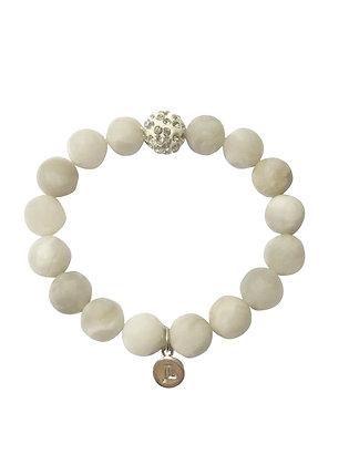 Crazy White Agate Beaded Bracelet