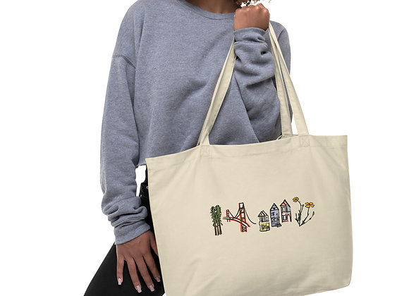 Large, Double Sided Print, Colored San Francisco Organic Cotton Tote