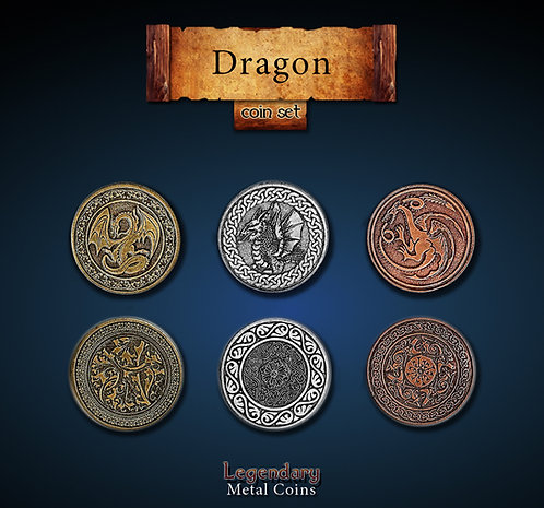 Dragon coin set - Legendary metal coins