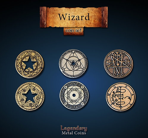 Wizard coin set - Legendary metal coins