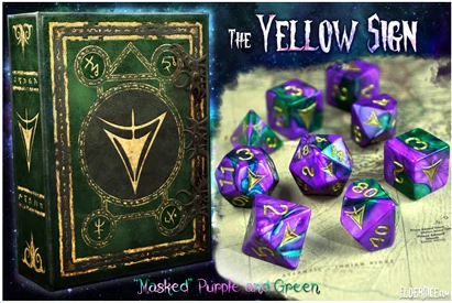 Elder Dice: Yellow Sign of Hastur Polyhedral dice set