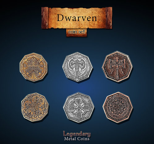 Dwarven coin set - Legendary metal coins