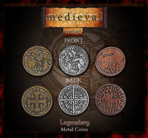 Medieval coin set - Legendary metal coins