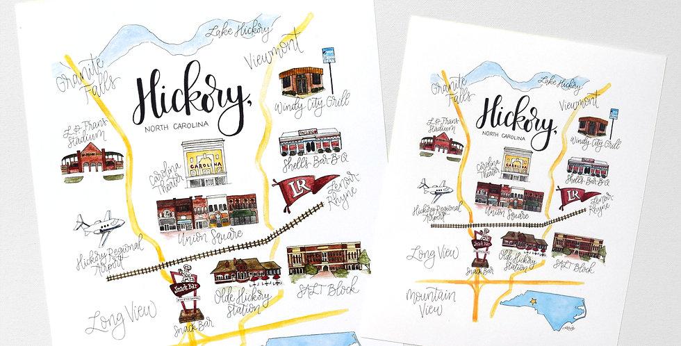 Hickory Map Print