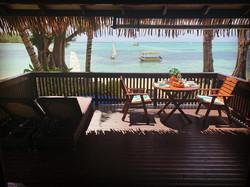 Beachfront deck with breakfast