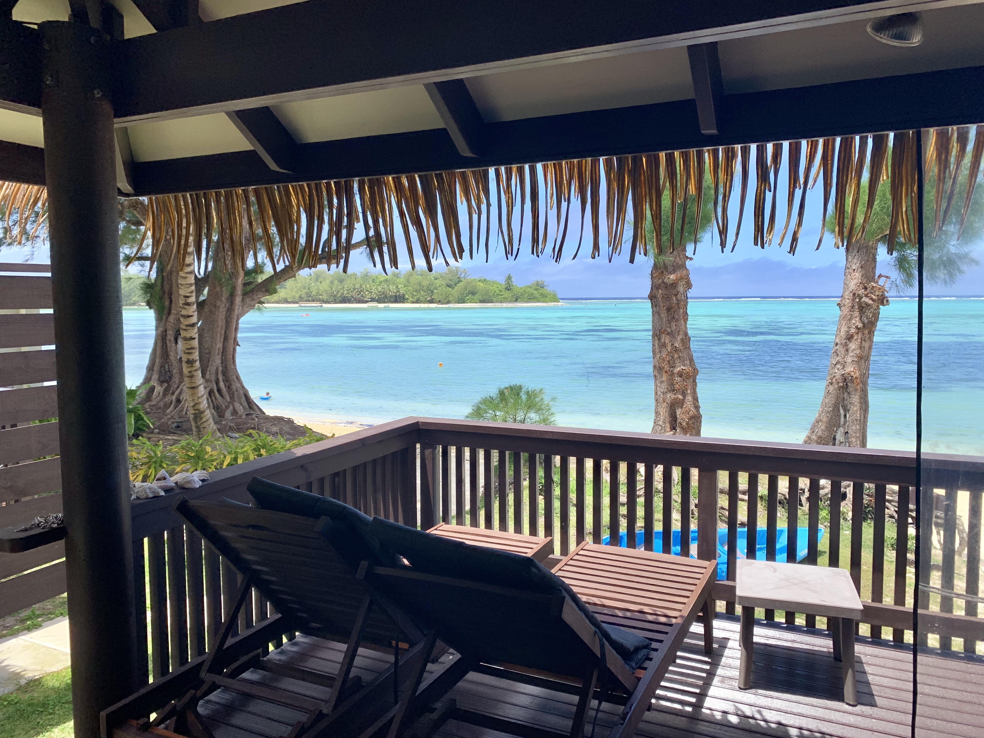 Beachfront villa views of lagoon
