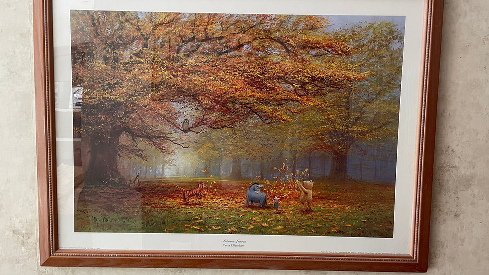 Autumn Leaves, Framed Winnie the Pooh Print by Peter Ellenshaw