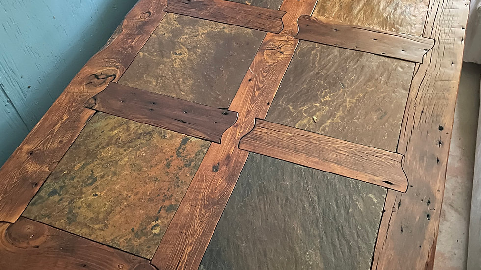 Reclaimed Barn Wood Coffee Table with Inset Quarry Stone