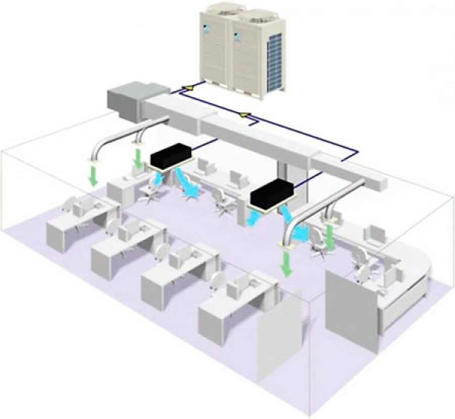 entilador que faz parte de um conjunto complexo de dutos, interligados e ramificados que compõe parte do sistema central de ar condicionado.