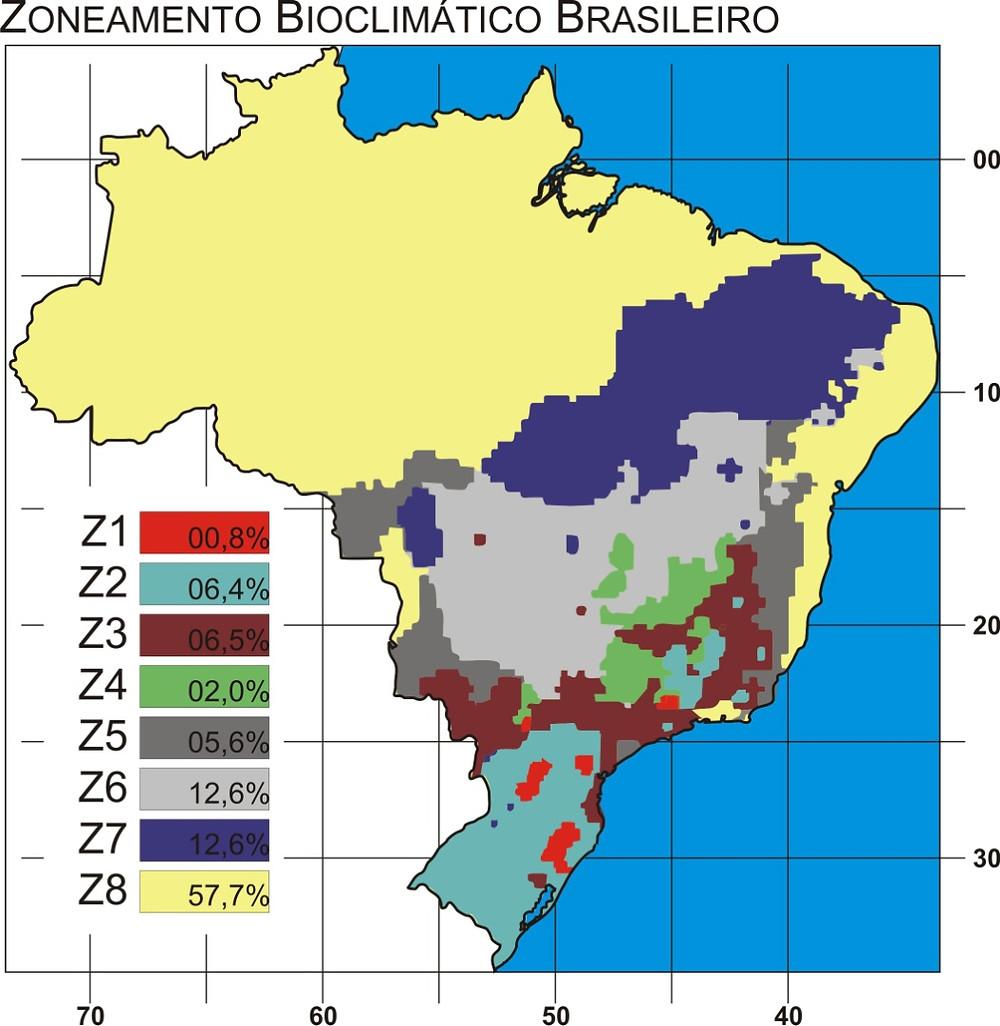 O território brasileiro tem seu clima mapeado, dividido em 8 zonas bioclimáticas. Estas zonas tem relação com as características climáticas das diversas áreas do território, que não obedecem ao mapeamento político ou divisão em estados ou regiões econômicas. A partir destes estudos e do seu respectivo mapa, pode se obter o clima de cada cidade, e relacioná-lo através de tabelas que indicam as estratégias e diretrizes construtivas bioclimáticas recomendadas para cada local, onde será projetada e construída uma edificação. O mapa do zoneamento bioclimático brasileiro compreende 8 diferentes zonas.