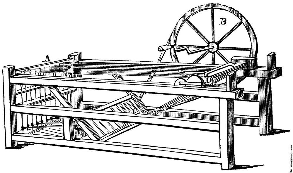 """Em 1767 James Hargreaves inventa a """"spinning janny"""", que permitia a um só artesão fiar 80 fios de uma única vez."""
