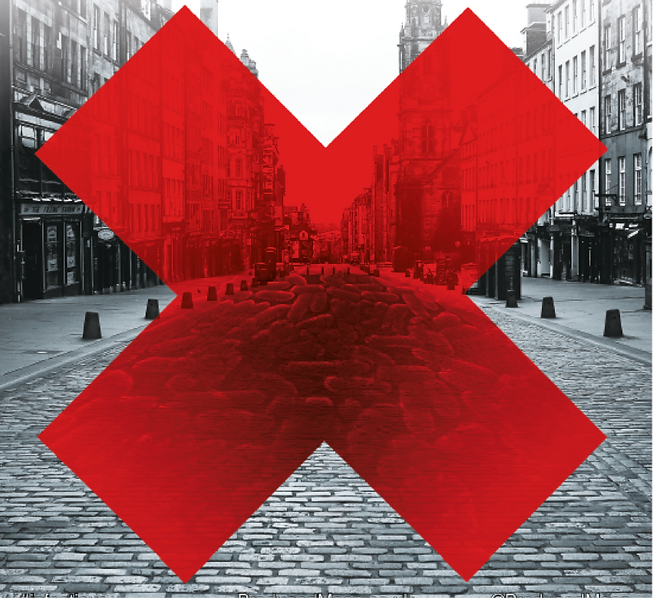 A view of the Royal Mile in Edinburgh in black and white. A red X covers the image and reveals germs covering the street.