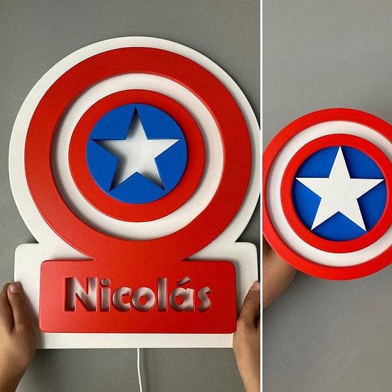Pack Lámpara+Colgador Capitán América