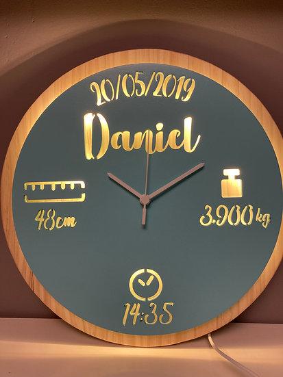 Reloj natalicio-lámpara acompañamiento personalizado