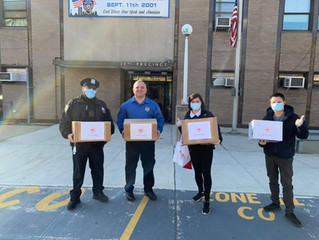 donating 2,000 masks each to the NYPD 72 Precinct