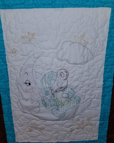 Blue Hand-Embroidered Teddy Bear Quilt