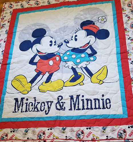 Vintage Mickey and Minnie Mouse Quilt