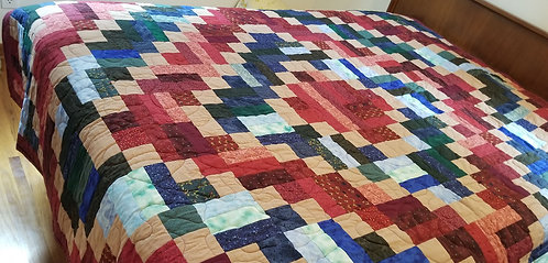 Scrappy Trip Around the World Twin-Sized Quilt