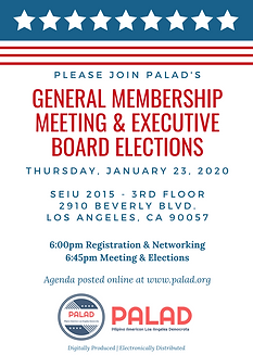 January 23, 2020 PALAD Meeting & Electio